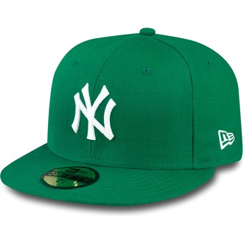 Gorra plana verde ajustada 59FIFTY Essential de New York Yankees MLB de New Era