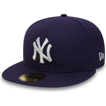 Gorra plana violeta ajustada 59FIFTY Essential de New York Yankees MLB de New Era