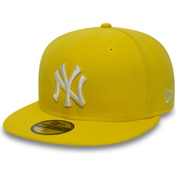 Gorra plana amarilla oscuro ajustada 59FIFTY Essential de New York Yankees MLB de New Era