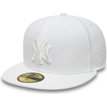 Gorra plana blanca ajustada 59FIFTY White on White de New York Yankees MLB de New Era