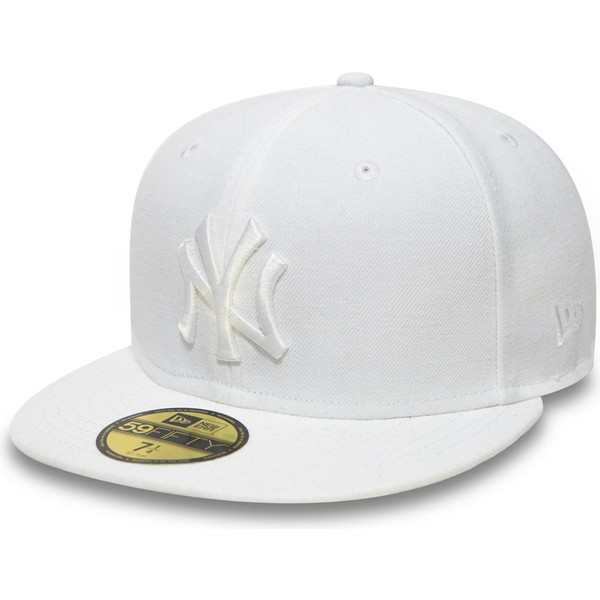 97a1dfa00a3c9 Gorra plana blanca ajustada 59FIFTY White on White de New York ...