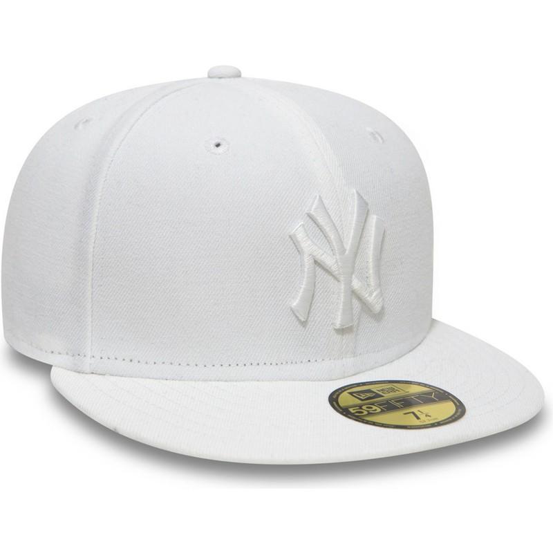 Gorra plana blanca ajustada 59FIFTY White on White de New York ... b99216fafe2