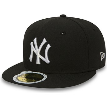 Gorra plana negra ajustada para niño 59FIFTY Essential de New York Yankees MLB de New Era