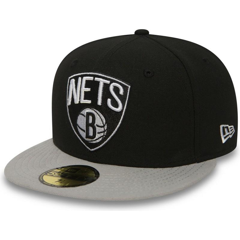 bf9abd797d22 Gorra plana negra ajustada 59FIFTY Essential de Brooklyn Nets NBA de New Era