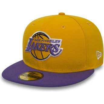 Gorra plana amarilla ajustada 59FIFTY Essential de Los Angeles Lakers NBA de New Era
