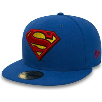 Gorra plana azul ajustada 59FIFTY Superman Character Essential Warner Bros. de New Era