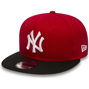 Gorra plana roja ajustable 9FIFTY Cotton Block de New York Yankees MLB de New Era