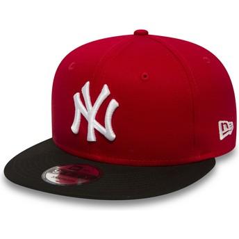 Gorra plana roja ajustable 9FIFTY Cotton Block de New York Yankees MLB de New Era