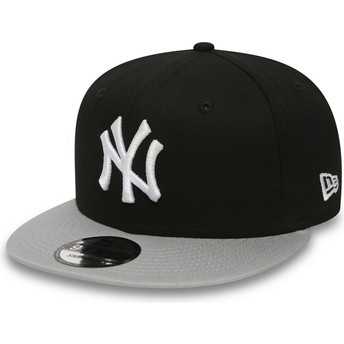 Gorra plana negra ajustable 9FIFTY Cotton Block de New York Yankees MLB de New Era