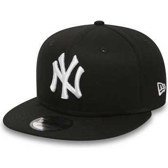 Gorra plana negra ajustable 9FIFTY White on Black de New York Yankees MLB de New Era