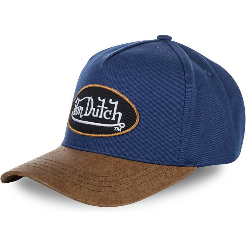 gorra-curva-azul-y-marron-ajustable-chuck-de-von-dutch