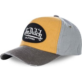 Gorra curva amarilla y gris ajustable JACKGOG de Von Dutch