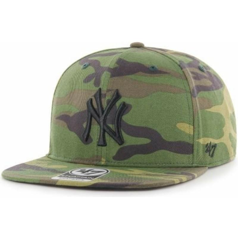 Gorra plana camuflaje snapback con logo negro de New York