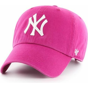 Gorra curva rosa orquídea de New York Yankees MLB Clean Up de 47 Brand