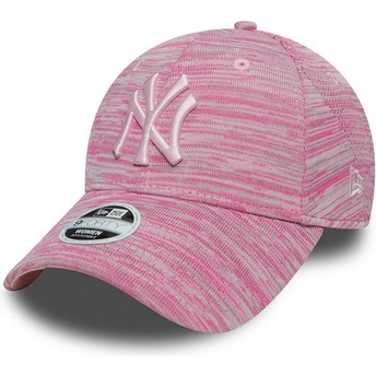 Gorra curva rosa ajustable con logo rosa de New York Yankees MLB 9FORTY Engineered Fit de New Era