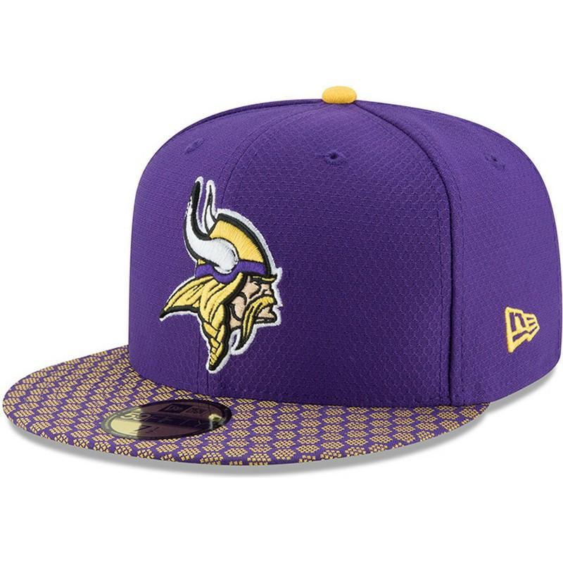44f65b67b9c41 Gorra plana violeta ajustada 59FIFTY Sideline de Minnesota Vikings ...