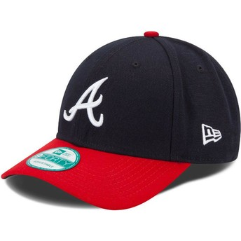 Gorra curva azul marino y roja ajustable 9FORTY The League de Atlanta Braves MLB de New Era