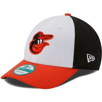 Gorra curva blanca, negra y naranja ajustable 9FORTY The League de Baltimore Orioles MLB de New Era