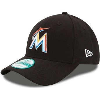 Gorra curva negra ajustable 9FORTY The League de Miami Marlins MLB de New Era