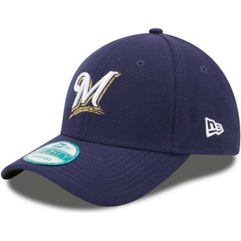 Gorra curva azul marino ajustable 9FORTY The League de Milwaukee Brewers MLB de New Era