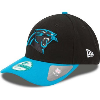 Gorra curva negra y azul ajustable 9FORTY The League de Carolina Panthers NFL de New Era