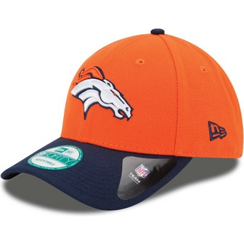 Gorra curva naranja y azul marino ajustable 9FORTY The League de Denver Broncos NFL de New Era