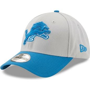 Gorra curva gris y azul ajustable 9FORTY The League de Detroit Lions NFL de New Era