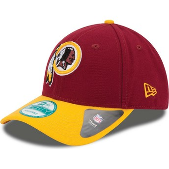 Gorra curva roja y amarilla ajustable 9FORTY The League de Washington Redskins NFL de New Era