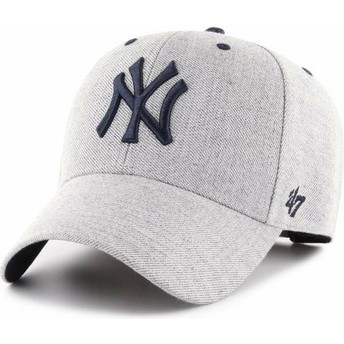 Gorra curva gris ajustable de New York Yankees MLB MVP Storm Cloud de 47 Brand