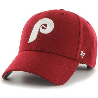 Gorra curva roja ajustable con logo clásico de Philadelphia Phillies MLB  MVP Cooperstown de 47 Brand 703a2e1038d