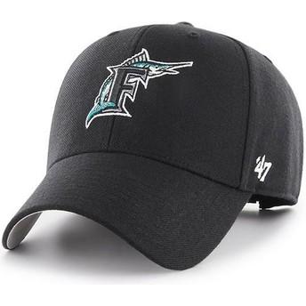 Gorra curva negra ajustable con logo clásico de Miami Marlins MLB MVP Cooperstown de 47 Brand