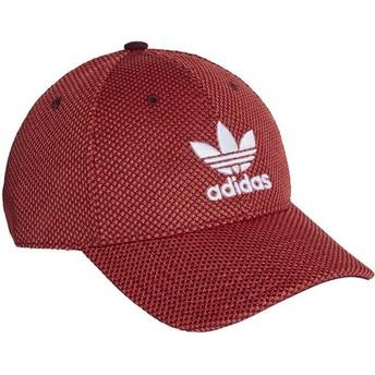 Gorra curva roja y negra con logo blanco Trefoil Primeknit de Adidas