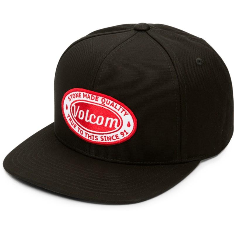 1f2e0888027a6 Gorra plana negra snapback con logo rojo Cresticle Charred de Volcom ...
