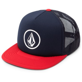 Gorra trucker azul marino con visera roja Full Frontal Cheese Engine Red de Volcom