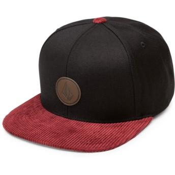 Gorra plana negra snapback con visera roja Quarter Fabric Cabernet de Volcom