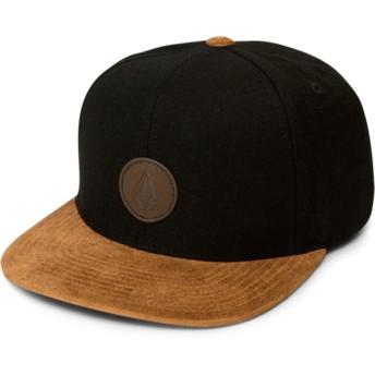 Gorra plana negra snapback con visera marrón Quarter Fabric Charred de Volcom