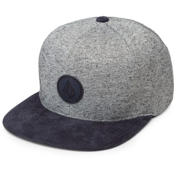 Gorra plana gris snapback con visera azul marino Quarter Fabric Indigo de Volcom