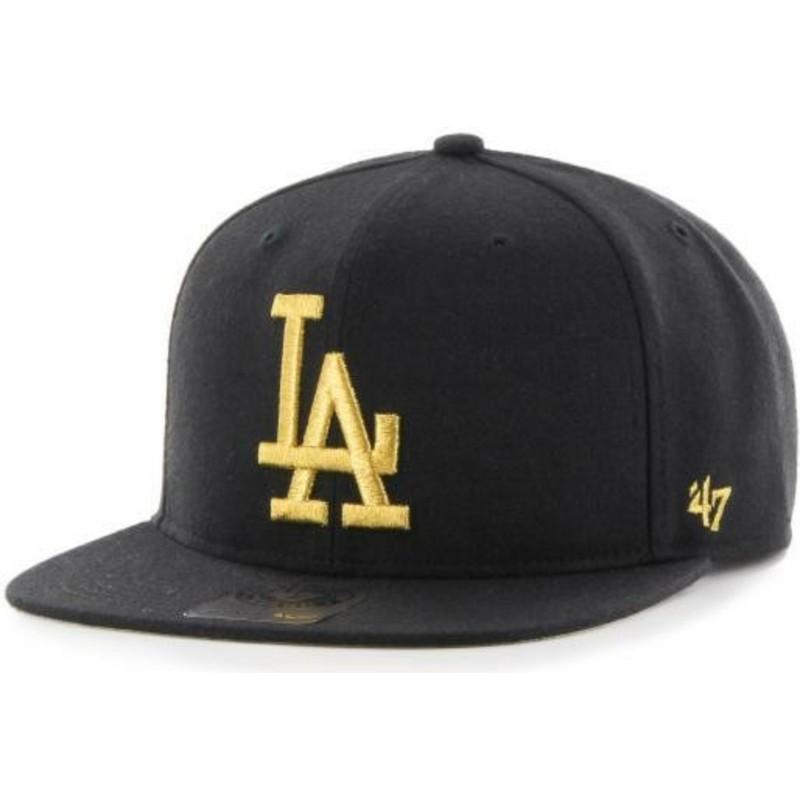 1a5f6e14f8 Gorra plana negra snapback con logo oro de Los Angeles Dodgers MLB ...