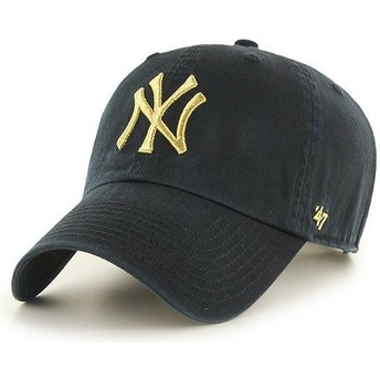 Gorra curva negra con logo oro de New York Yankees MLB Clean Up Metallic de 47 Brand