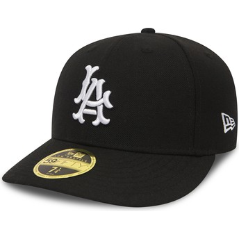Gorra curva negra ajustada 59FIFTY Coop Wool de Los Angeles Dodgers MLB de New Era