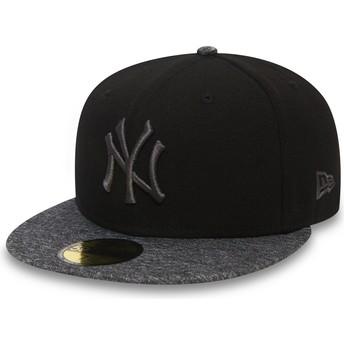 Gorra plana negra ajustada con logo y visera gris 59FIFTY Grey Collection de New York Yankees MLB de New Era