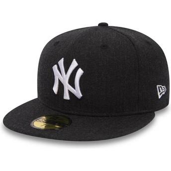 Gorra plana negra ajustada 59FIFTY Seasonal Heather de New York Yankees MLB de New Era