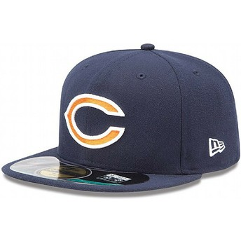 Gorra plana azul marino ajustada 59FIFTY On Field de Chicago Bears NFL de New Era