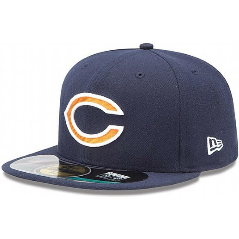 2365b9f52dfc4 Gorra plana azul marino ajustada 59FIFTY On Field de Chicago Bears ...