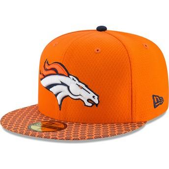 Gorra plana naranja ajustada 59FIFTY Sideline de Denver Broncos NFL de New Era