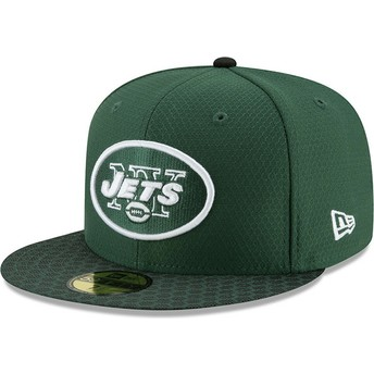 Gorra plana verde ajustada 59FIFTY Sideline de New York Jets NFL de New Era
