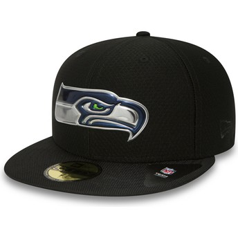 Gorra plana negra ajustada 59FIFTY Black Coll de Seattle Seahawks NFL de New Era