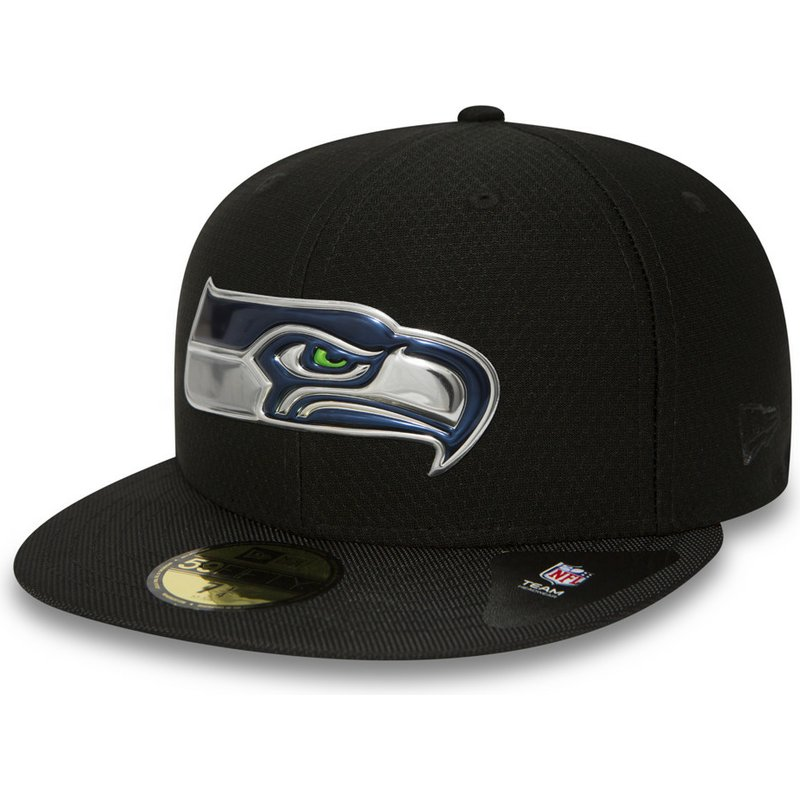a9ea830365652 Gorra plana negra ajustada 59FIFTY Black Coll de Seattle Seahawks ...