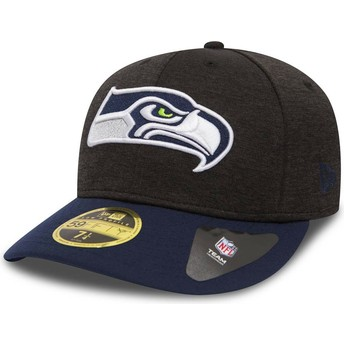 Gorra curva piedra y azul ajustada 59FIFTY Low Profile Shadow Tech de Seattle Seahawks NFL de New Era
