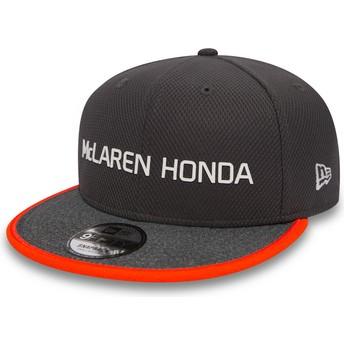 Gorra plana gris snapback 9FIFTY Fernando Alonso de McLaren Racing Formula 1 de New Era